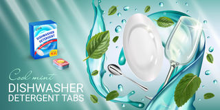 Peppermint fragrance dishwasher detergent tabs ads. Vector realistic Illustration with dishes in water splash and mint leafs. Hori Stock Image