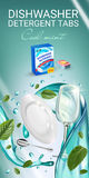 Peppermint fragrance dishwasher detergent tabs ads. Vector realistic Illustration with dishes in water splash and mint leafs. Vert Stock Images