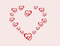 Peppermint hearts. Group of peppermint hearts forming a heart of love Royalty Free Stock Photo
