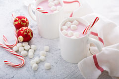 Peppermint hot chocolate with candy canes Royalty Free Stock Photos