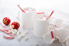 Peppermint hot chocolate with candy canes Royalty Free Stock Image