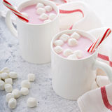 Peppermint hot chocolate with candy canes Stock Image
