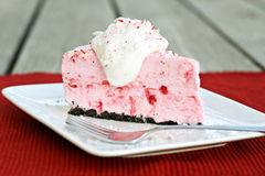 Peppermint Ice Cream Pie. Garnished with whipped cream Stock Image