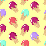 Peppermint ice cream seamless pattern. Strawberry cold dessert. Stock Photography