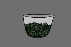 Peppermint. Ina cup, dark gray background, illustration Royalty Free Stock Photo