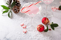 Peppermint martini cocktail with coconut flakes rim Royalty Free Stock Photos