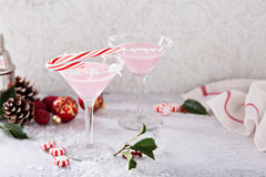Peppermint martini cocktail with coconut flakes rim Royalty Free Stock Image