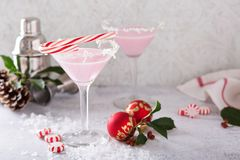 Free Peppermint Martinis For Christmas Stock Photography - 102025842