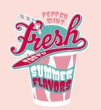 Peppermint milkshake cup. Vector artwork for girl t-shirt in custom colors stock illustration