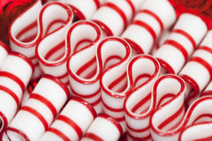 Peppermint Ribbon Christmas Candy. This is a delicious red and white striped old fashioned peppermint ribbon Christmas candy royalty free stock photography