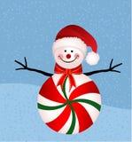 Peppermint Snowman. In Santa Hat vector illustration