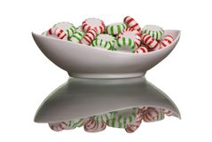 Peppermint and Spearmint. A small bowl of peppermint and spearmint candies Royalty Free Stock Photo