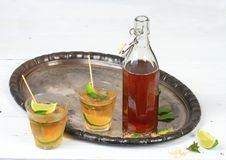 Mint syrup with lime Stock Images