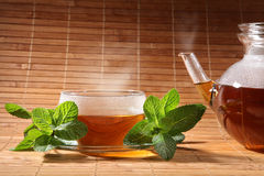 Peppermint tea. Before bamboo background vector illustration