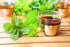 Peppermint tea, medicinal herbs. On the garden table Royalty Free Stock Photo