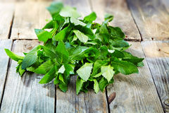 Peppermint on wooden table Royalty Free Stock Image