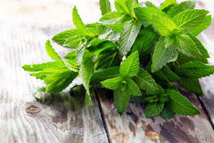 Peppermint on wooden table. Peppermint on old wooden table royalty free stock photo