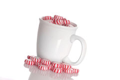 Peppermints. A cup full of peppermint candy isolated against a white background royalty free stock image
