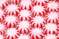 Peppermints 2. Rows of red and white peppermint candies. Would make a good background Royalty Free Stock Images