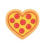 Pepperoni καρδιά πιτσών διανυσματική απεικόνιση