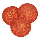 Pepperoni κομμάτια Στοκ Εικόνες
