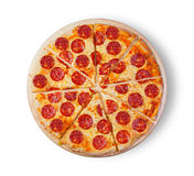 pepperoni κουζινών ανασκόπησης ιταλικό λευκό πιτσών Εικόνα μιας πίτσας σε ένα άσπρο υπόβαθρο Στοκ φωτογραφίες με δικαίωμα ελεύθερης χρήσης