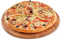 pepperoni κουζινών ανασκόπησης ιταλικό λευκό πιτσών στοκ φωτογραφία με δικαίωμα ελεύθερης χρήσης