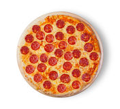pepperoni κουζινών ανασκόπησης ιταλικό λευκό πιτσών Στοκ Εικόνα