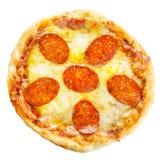 pepperoni κουζινών ανασκόπησης ιταλικό λευκό πιτσών Στοκ Εικόνες
