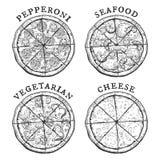 Pepperoni, πίτσα θαλασσινών, χορτοφάγων και τυριών Στοκ Εικόνες