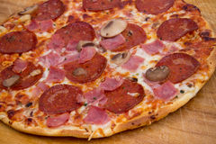 Pepperoni And Ham Pizza Stock Photo