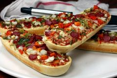 Pepperoni Baguette Pizzas Royalty Free Stock Images