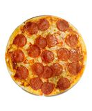Pepperoni and cheese pizza. Isolated on white background Royalty Free Stock Images