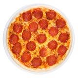 Pepperoni de pizza à partir du dessus Image stock