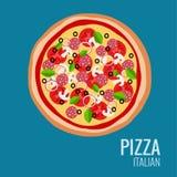 Pepperoni e pizza dos cogumelos Fotografia de Stock