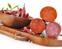 Pepperoni e Salami duro fotos de stock