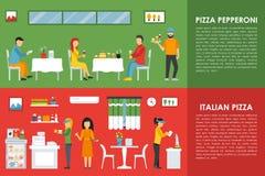 Pepperoni and Italian Pizza flat  concept web vector illustration. Pizzeria Restaurant interior presentation. Stock Photography