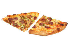 Pepperoni and mozzarella pizza slice isolated Stock Photos