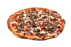 Pepperoni and Mushroom Pizza. A pepperoni and mushroom pizza pie, isolated on white royalty free stock image