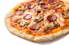 Pepperoni and Mushroom Pizza Stock Photos