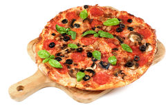 Pepperoni and Mushrooms Pizza Stock Photos