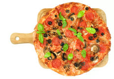 Pepperoni and Mushrooms Pizza Stock Images