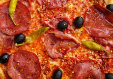 Pepperoni and Olive Pizza Stock Image