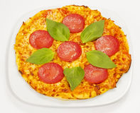Pepperoni pizza. On white background stock photography