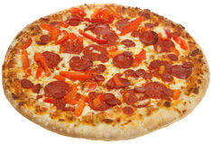 Pepperoni Pizza. Freshly baked pizza with pepperoni and red peppers Stock Photography