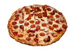 Pepperoni Pizza. A cheese and pepperoni pizza pie, on white royalty free stock images