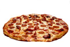 Pepperoni Pizza. A cheese and pepperoni pizza pie, on white royalty free stock photo