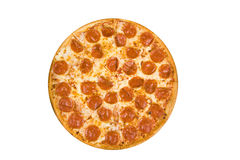 Pepperoni pizza. Whole pepperoni pizza isolated on a white background stock image