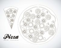 Pepperoni pizza. Illustration of a pepperoni pizza isolated on white background, vector illustration Royalty Free Stock Photography