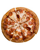 Pepperoni Pizza. A pepperoni pizza isolated on white royalty free stock photography